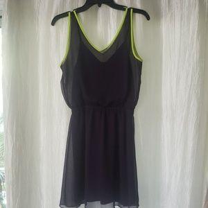 Dark purple Express dress with neon trim